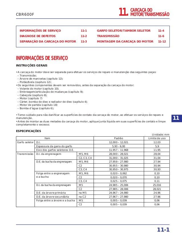 CARCAÇA DO MOTOR/TRANSMISSÃO INFORMAÇÕES DE SERVIÇO 11-1 DIAGNOSE DE DEFEITOS 11-2 SEPARAÇÃO DA CARCAÇA DO MOTOR 11-3 GARF...