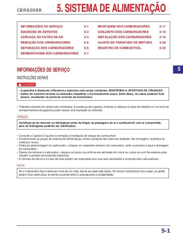 CBR900RR 5. SISTEMA DE ALIMENTAÇÃO INFORMAÇÕES DE SERVIÇO 5-1 DIAGNOSE DE DEFEITOS 5-3 CARCAÇA DO FILTRO DE AR 5-4 REMOÇÃO...