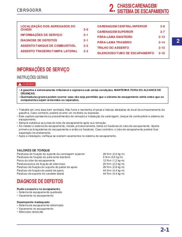 CBR900RR LOCALIZAÇÃO DOS AGREGADOS DO CHASSI 2-0 INFORMAÇÕES DE SERVIÇO 2-1 DIAGNOSE DE DEFEITOS 2-1 ASSENTO/TANQUE DE COM...