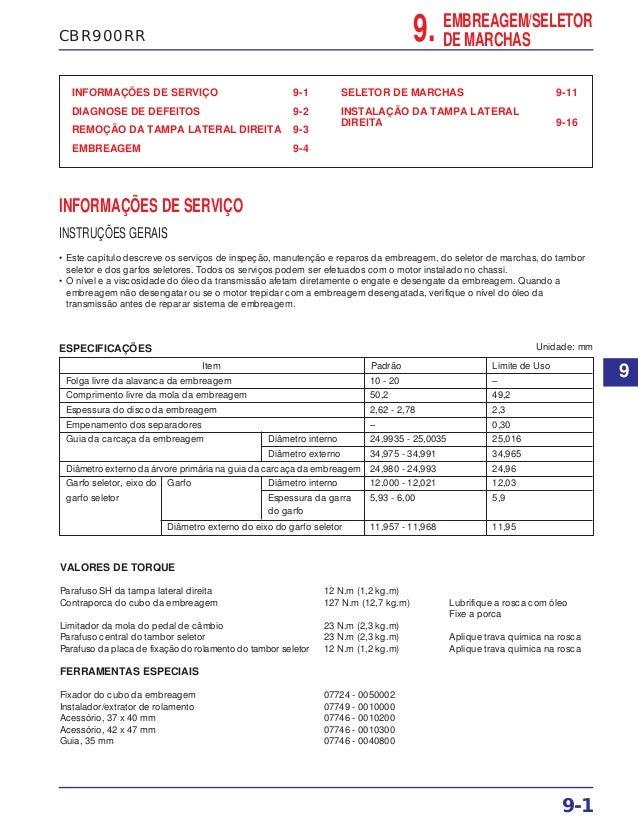 CBR900RR 9. EMBREAGEM/SELETOR DE MARCHAS INFORMAÇÕES DE SERVIÇO 9-1 DIAGNOSE DE DEFEITOS 9-2 REMOÇÃO DA TAMPA LATERAL DIRE...