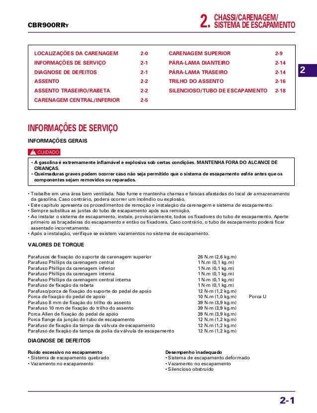CHASSI/CARENAGEM/ SISTEMA DE ESCAPAMENTO2. LOCALIZAÇÕES DA CARENAGEM 2-0 INFORMAÇÕES DE SERVIÇO 2-1 DIAGNOSE DE DEFEITOS 2...