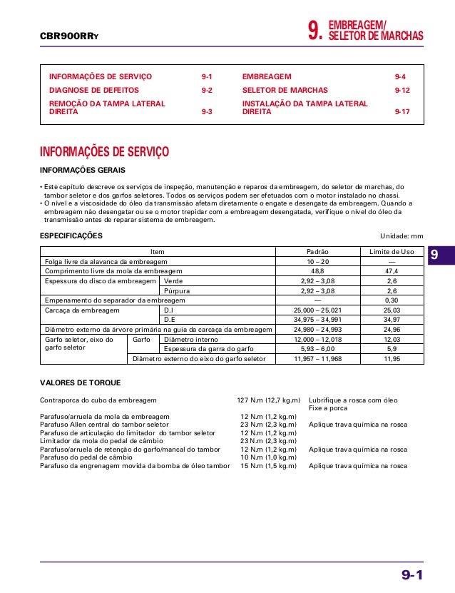 9. EMBREAGEM/ SELETOR DE MARCHAS INFORMAÇÕES DE SERVIÇO 9-1 DIAGNOSE DE DEFEITOS 9-2 REMOÇÃO DA TAMPA LATERAL DIREITA 9-3 ...