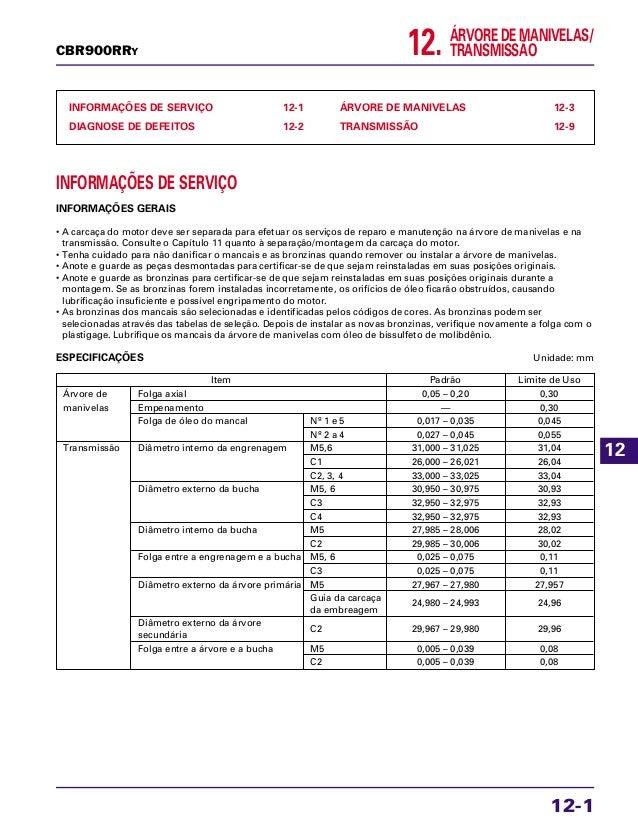ÁRVORE DE MANIVELAS/ TRANSMISSÃO12. INFORMAÇÕES DE SERVIÇO 12-1 DIAGNOSE DE DEFEITOS 12-2 ÁRVORE DE MANIVELAS 12-3 TRANSMI...