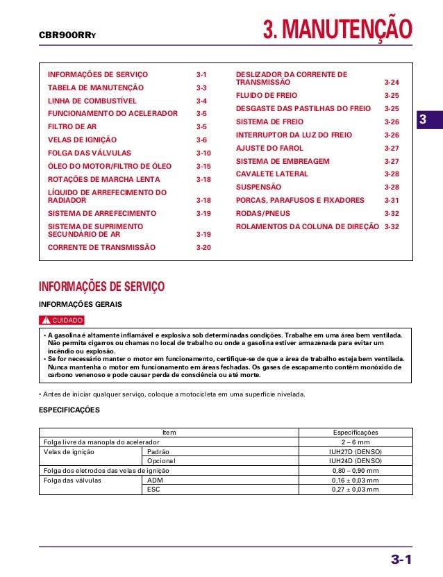3. MANUTENÇÃO INFORMAÇÕES DE SERVIÇO 3-1 TABELA DE MANUTENÇÃO 3-3 LINHA DE COMBUSTÍVEL 3-4 FUNCIONAMENTO DO ACELERADOR 3-5...