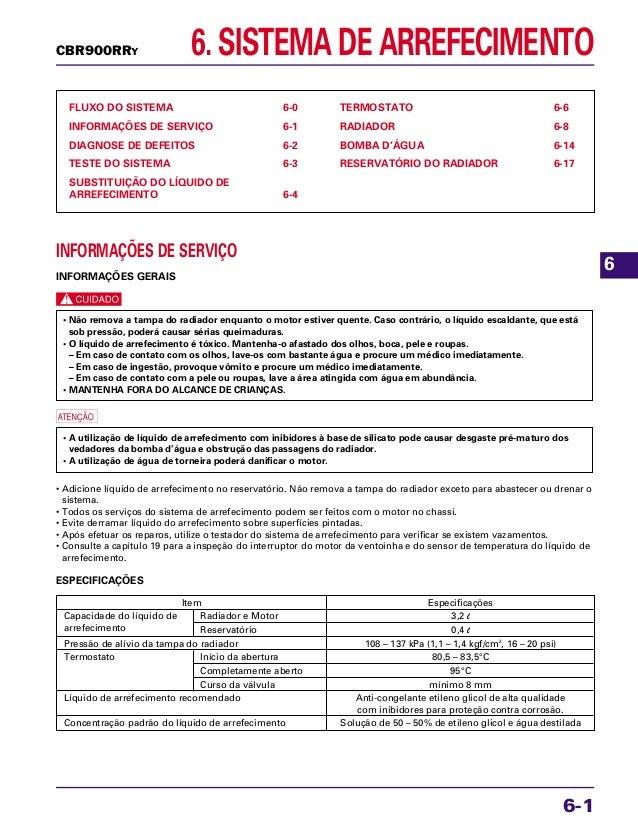 6. SISTEMA DE ARREFECIMENTO FLUXO DO SISTEMA 6-0 INFORMAÇÕES DE SERVIÇO 6-1 DIAGNOSE DE DEFEITOS 6-2 TESTE DO SISTEMA 6-3 ...