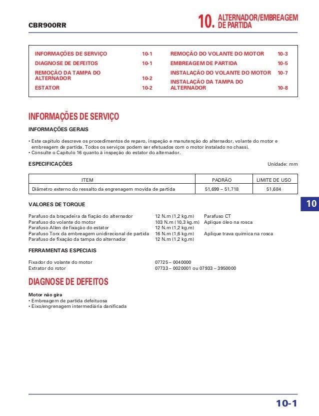 10.ALTERNADOR/EMBREAGEM DE PARTIDA INFORMAÇÕES DE SERVIÇO 10-1 DIAGNOSE DE DEFEITOS 10-1 REMOÇÃO DA TAMPA DO ALTERNADOR 10...
