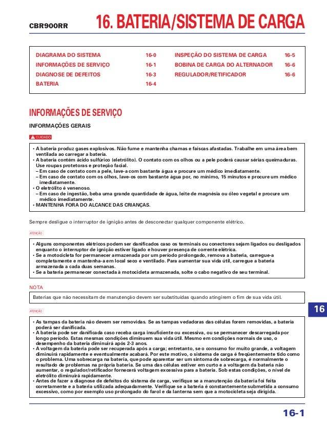 16. BATERIA/SISTEMA DE CARGA DIAGRAMA DO SISTEMA 16-0 INFORMAÇÕES DE SERVIÇO 16-1 DIAGNOSE DE DEFEITOS 16-3 BATERIA 16-4 I...