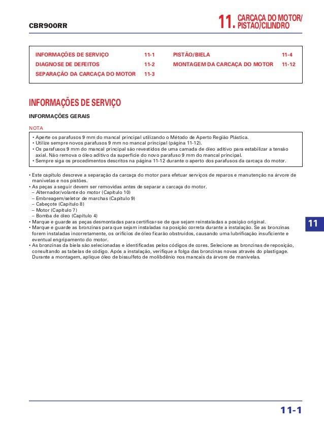 11.CARCAÇA DO MOTOR/ PISTÃO/CILINDRO INFORMAÇÕES DE SERVIÇO 11-1 DIAGNOSE DE DEFEITOS 11-2 SEPARAÇÃO DA CARCAÇA DO MOTOR 1...