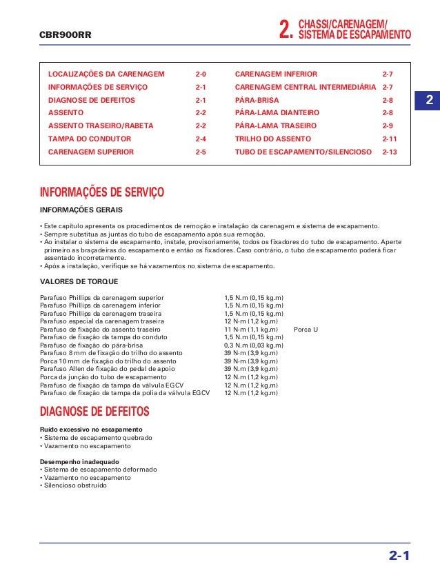 2. CHASSI/CARENAGEM/ SISTEMA DE ESCAPAMENTO LOCALIZAÇÕES DA CARENAGEM 2-0 INFORMAÇÕES DE SERVIÇO 2-1 DIAGNOSE DE DEFEITOS ...