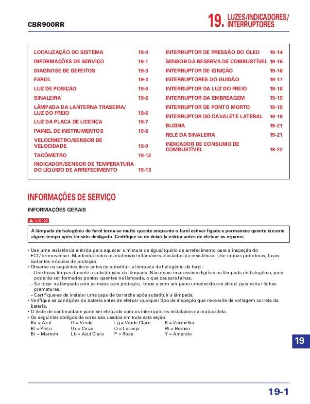 19.LUZES/INDICADORES/ INTERRUPTORES LOCALIZAÇÃO DO SISTEMA 19-0 INFORMAÇÕES DE SERVIÇO 19-1 DIAGNOSE DE DEFEITOS 19-3 FARO...