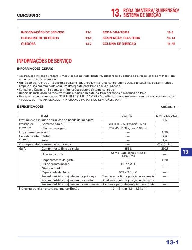 13. RODA DIANTEIRA/ SUSPENSÃO/ SISTEMA DE DIREÇÃO INFORMAÇÕES DE SERVIÇO 13-1 DIAGNOSE DE DEFEITOS 13-2 GUIDÕES 13-3 RODA ...