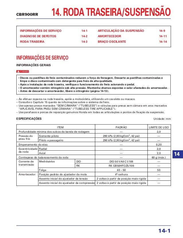 14. RODA TRASEIRA/SUSPENSÃO INFORMAÇÕES DE SERVIÇO 14-1 DIAGNOSE DE DEFEITOS 14-2 RODA TRASEIRA 14-3 ARTICULAÇÃO DA SUSPEN...