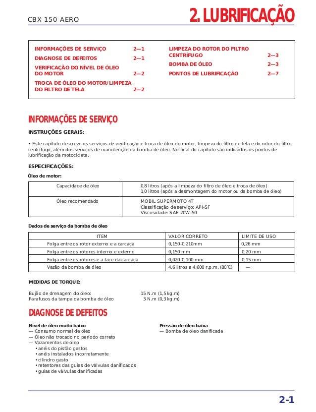 2-1 CBX 150 AERO 2. LUBRIFICAÇÃO INFORMAÇÕES DE SERVIÇO 2—1 DIAGNOSE DE DEFEITOS 2—1 VERIFICAÇÃO DO NÍVEL DE ÓLEO DO MOTOR...