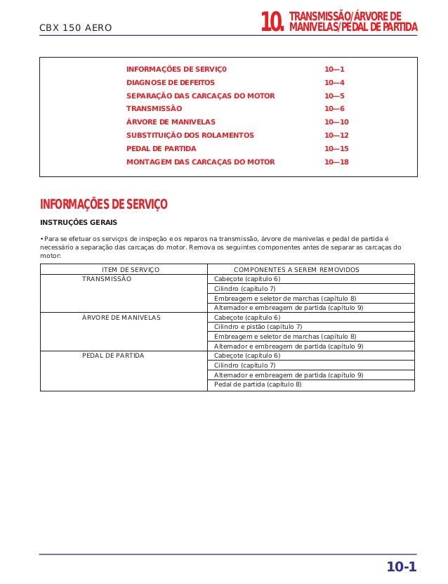 CBX 150 AERO INFORMAÇÕES DE SERVIÇ0 10—1 DIAGNOSE DE DEFEITOS 10—4 SEPARAÇÃO DAS CARCAÇAS DO MOTOR 10—5 TRANSMISSÃO 10—6 Á...