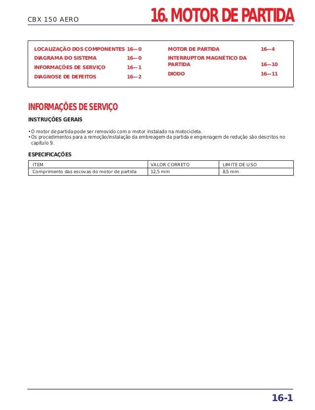 CBX 150 AERO LOCALIZAÇÃO DOS COMPONENTES 16—0 DIAGRAMA DO SISTEMA 16—0 INFORMAÇÕES DE SERVIÇO 16—1 DIAGNOSE DE DEFEITOS 16...