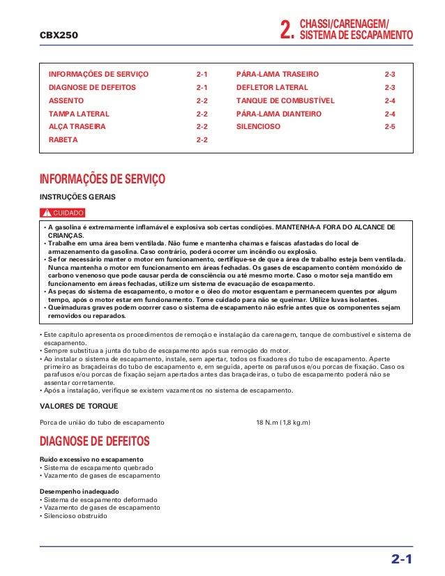CHASSI/CARENAGEM/ SISTEMA DE ESCAPAMENTO2. INFORMAÇÕES DE SERVIÇO 2-1 DIAGNOSE DE DEFEITOS 2-1 ASSENTO 2-2 TAMPA LATERAL 2...