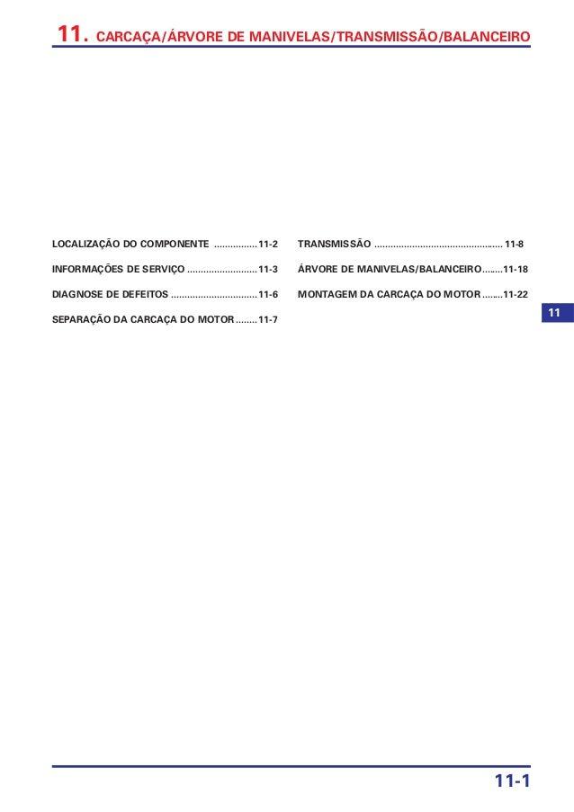 11-1 11. CARCAÇA/ÁRVORE DE MANIVELAS/TRANSMISSÃO/BALANCEIRO LOCALIZAÇÃO DO COMPONENTE ................11-2 INFORMAÇÕES DE ...