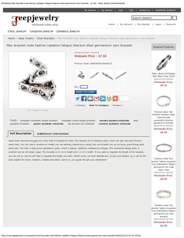 Wholesale Man bracelet male fashion radiation fatigue titanium steel germanium care bracelet - $ 7.60 : Steel Jewelry Stee...