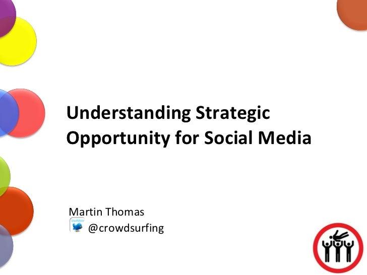 Understanding Strategic Opportunity for Social Media Martin Thomas @crowdsurfing