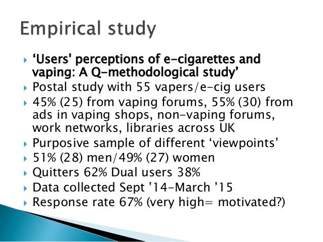  'Users' perceptions of e-cigarettes and vaping: A Q-methodological study'  Postal study with 55 vapers/e-cig users  45...