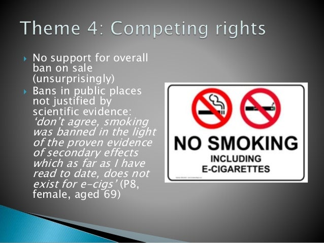  No support for overall ban on sale (unsurprisingly)  Bans in public places not justified by scientific evidence: 'don't...