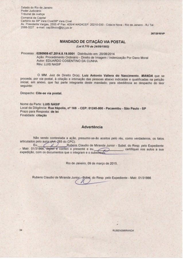Estado do Rio de Janeiro Poder Judiciário Tribunal de Justiça Comarca da Capital Cartório da 39^ Vara Cível39^ Vara Cível ...