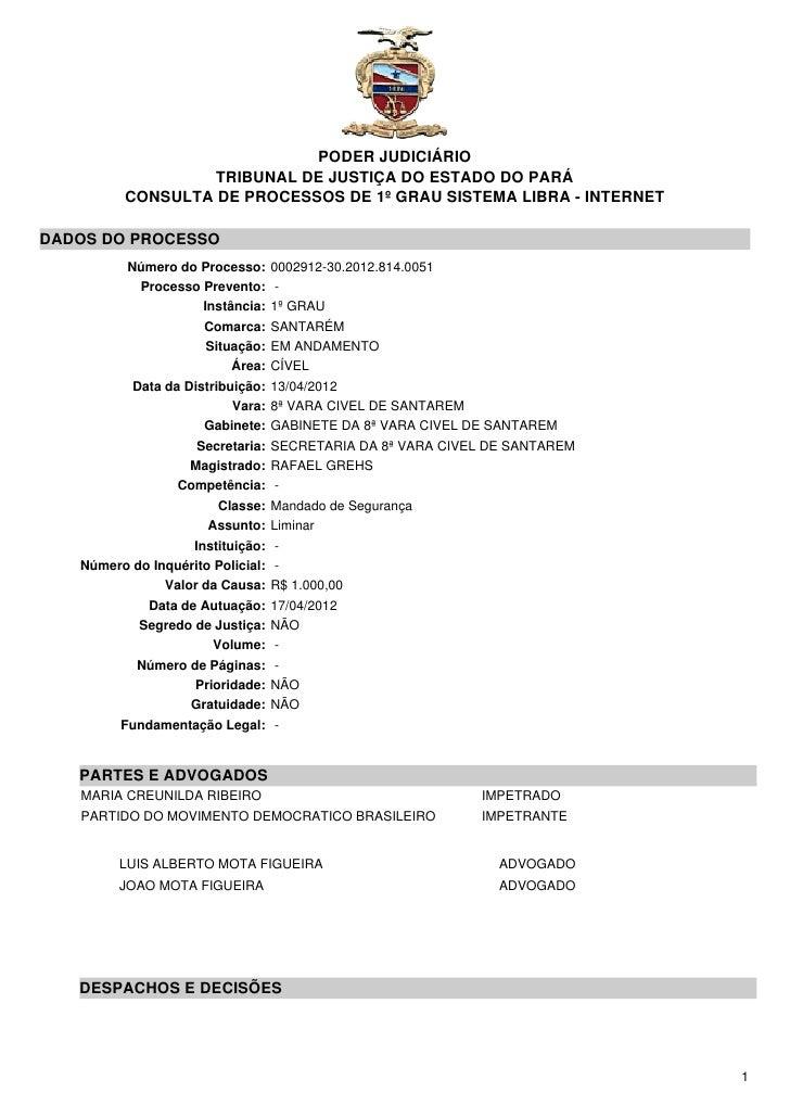 PODER JUDICIÁRIO                   TRIBUNAL DE JUSTIÇA DO ESTADO DO PARÁ          CONSULTA DE PROCESSOS DE 1º GRAU SISTEMA...