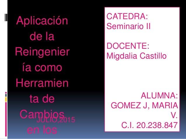 CATEDRA: Seminario II DOCENTE: Migdalia Castillo ALUMNA: GOMEZ J, MARIA V. C.I. 20.238.847 Aplicación de la Reingenier ía ...