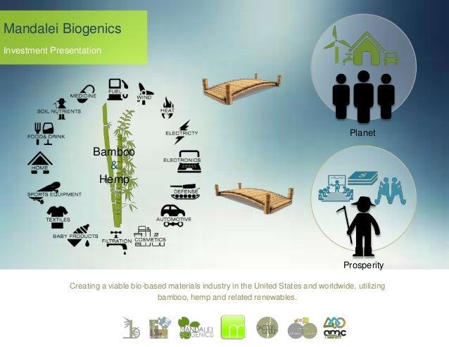 Mandalei Biogenics Investment Presentation  Planet  Bamboo & Hemp  Prosperity Creating a viable bio-based materials indust...
