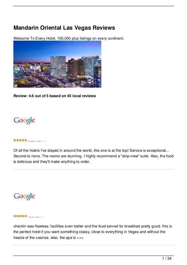 Mandarin Oriental Las Vegas ReviewsWelcome To Every Hotel, 100,000 plus listings on every continent.Review: 4.6 out of 5 b...