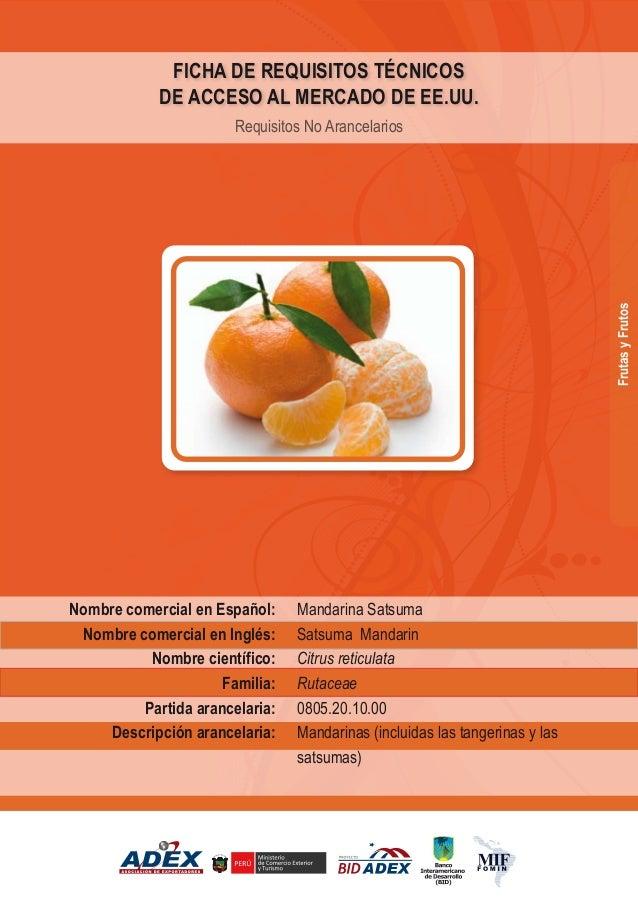 Mandarina Satsuma Satsuma Mandarin Citrus reticulata Rutaceae 0805.20.10.00 Mandarinas (incluidas las tangerinas y las sat...