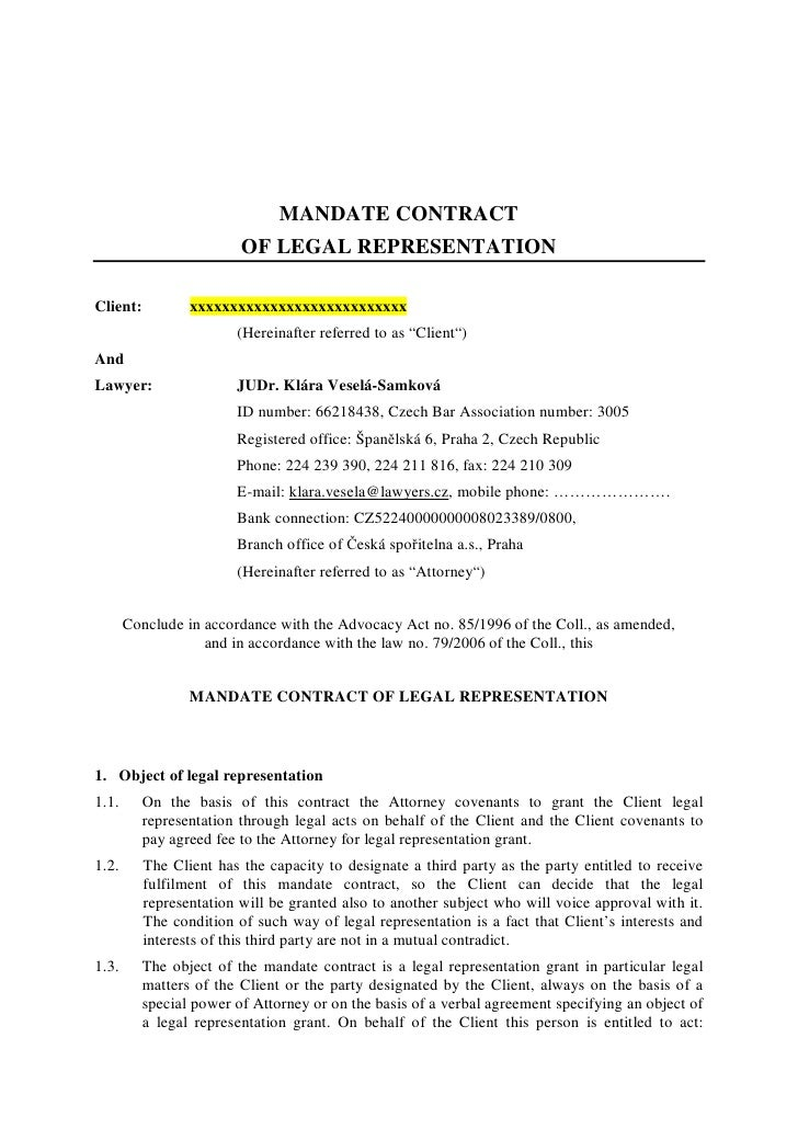 MANDATE CONTRACT                          OF LEGAL REPRESENTATION  Client:          xxxxxxxxxxxxxxxxxxxxxxxxxxx           ...