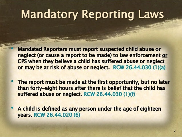 Definition of mandating reporting
