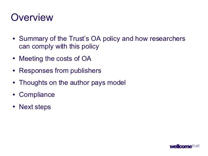 Mandating Open Access - Wellcome Trust Slide 2