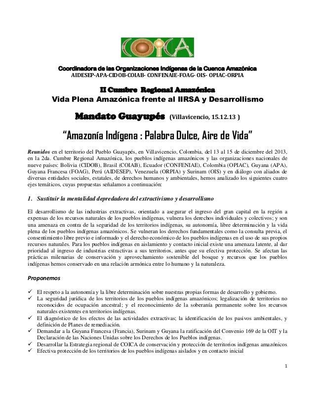 Coordinadora de las Organizaciones Indígenas de la Cuenca Amazónica AIDESEP-APA-CIDOB-COIAB- CONFENAIE-FOAG- OIS- OPIAC-OR...