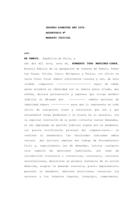 SEGUNDO BIMESTRE AÑO 2006.                        REPERTORIO N°                        MANDATO JUDICIALrvv.EN TEMUCO,     ...