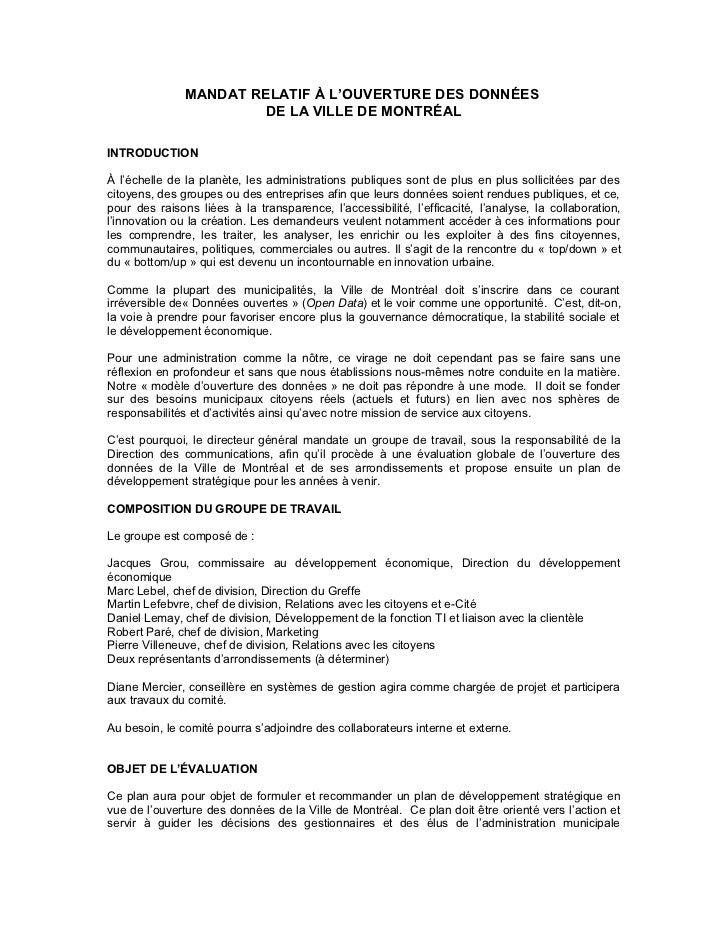 MANDAT RELATIF À L'OUVERTURE DES DONNÉES                        DE LA VILLE DE MONTRÉALINTRODUCTIONÀ l'échelle de la planè...