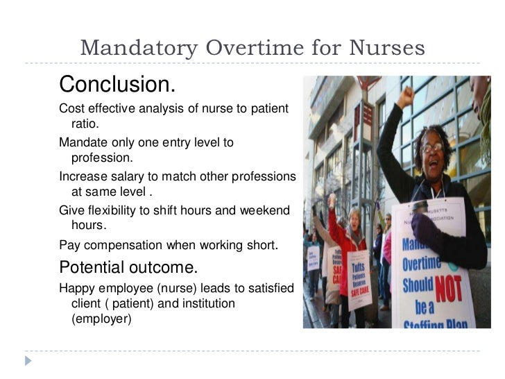 mandatory overtime Forced overtime sometimes called mandatory overtime is generally legal, at least  under federal law can my employer force me to work.