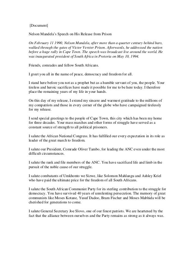 [Document] Nelson Mandela's Speech on His Release from Prison On February 11 1990, Nelson Mandela, after more than a quart...