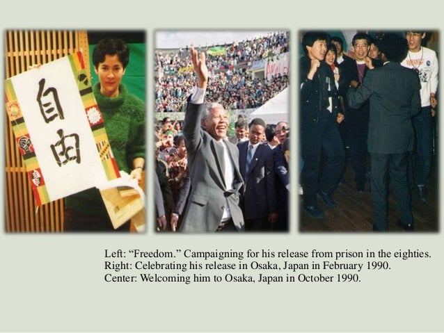 """Left: """"Freedom."""" Campaigning for his release from prison in the eighties. Right: Celebrating his release in Osaka, Japan i..."""