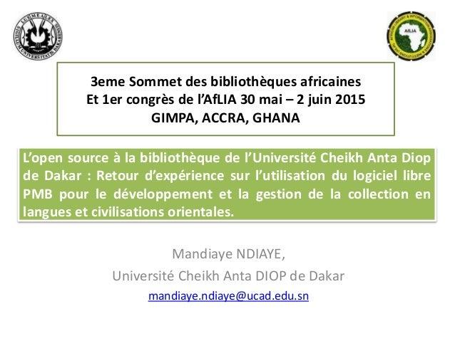 L'open source à la bibliothèque de l'Université Cheikh Anta Diop de Dakar : Retour d'expérience sur l'utilisation du logic...