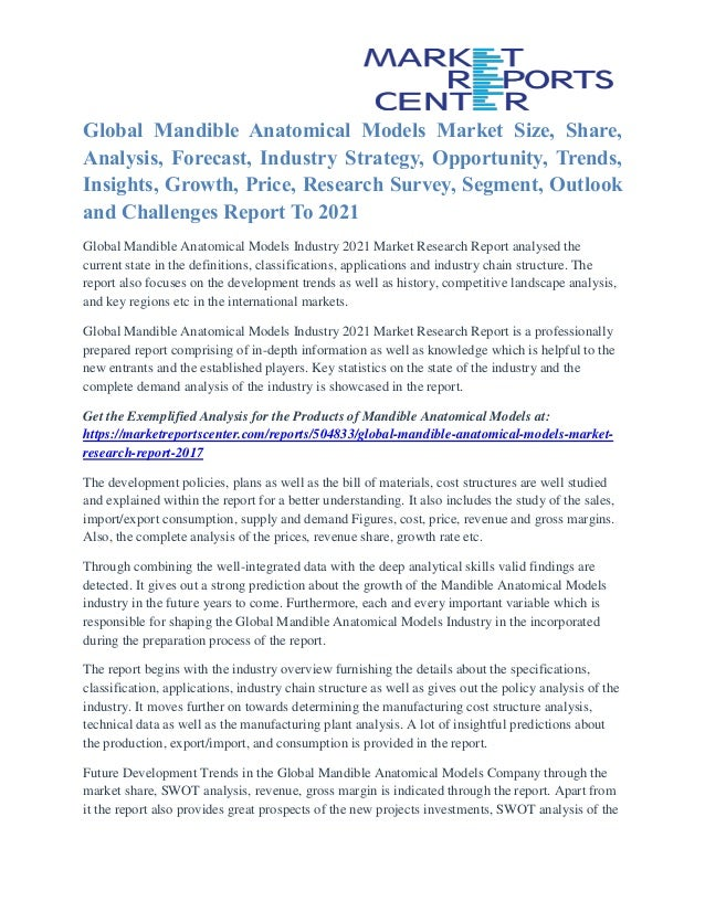 Global Mandible Anatomical Models Market Size, Share, Analysis, Forecast, Industry Strategy, Opportunity, Trends, Insights...