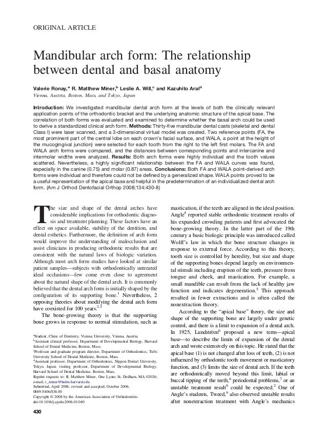 Mandibular arch form the relationship between dental and basal anato…