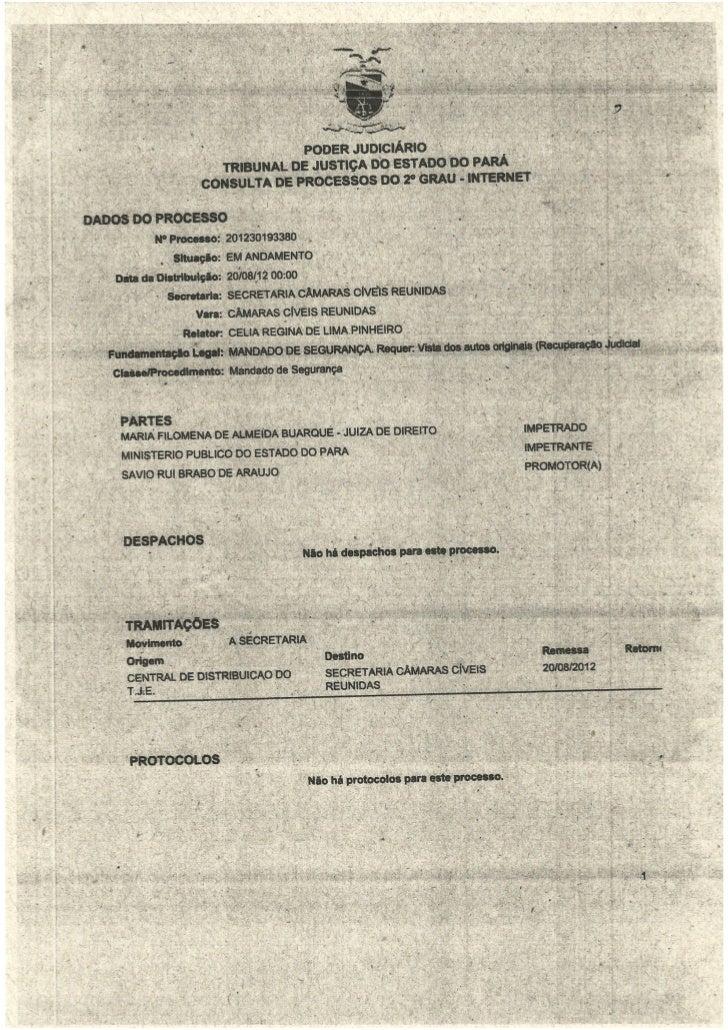 Mandado de segurança contra a juíza Maria Filomena de Almeida Buarque