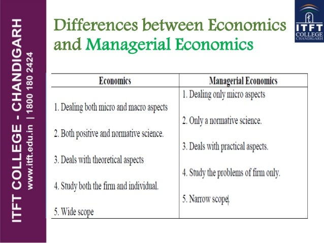 how does managerial economics differ from economics