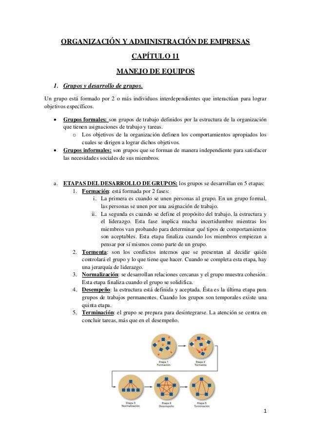 1ORGANIZACIÓN Y ADMINISTRACIÓN DE EMPRESASCAPÍTULO 11MANEJO DE EQUIPOS1. Grupos y desarrollo de grupos.Un grupo está forma...