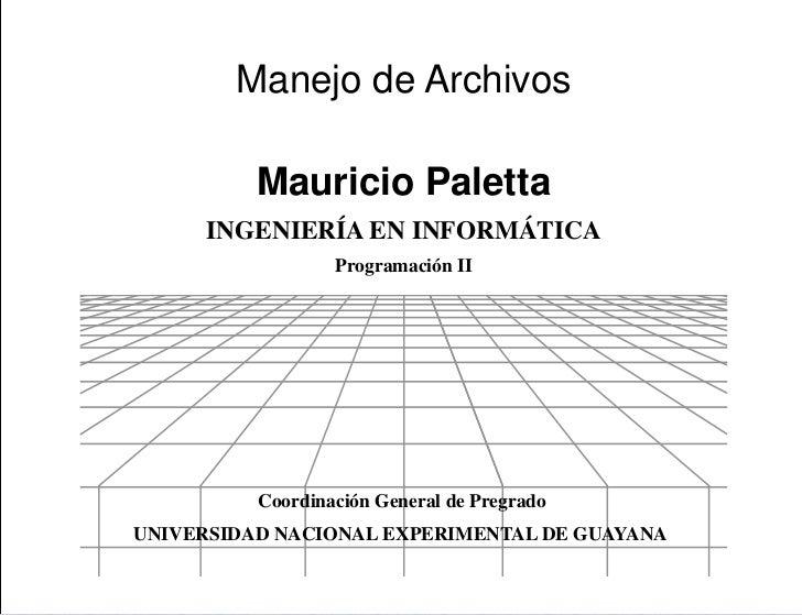 Presentación        Manejo de Archivos          Mauricio Paletta     INGENIERÍA EN INFORMÁTICA                  Programaci...