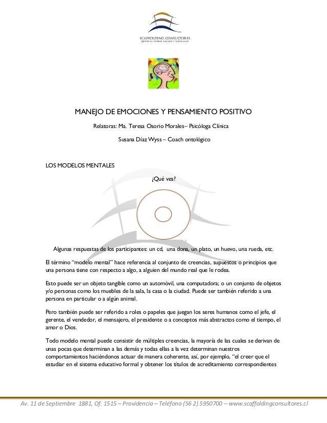 Av. 11 de Septiembre 1881, Of. 1515 – Providencia – Teléfono (56 2) 5950700 – www.scaffoldingconsultores.cl MANEJO DE EMOC...