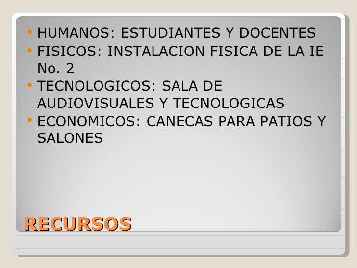 RECURSOS <ul><li>HUMANOS: ESTUDIANTES Y DOCENTES </li></ul><ul><li>FISICOS: INSTALACION FISICA DE LA IE No. 2 </li></ul><u...