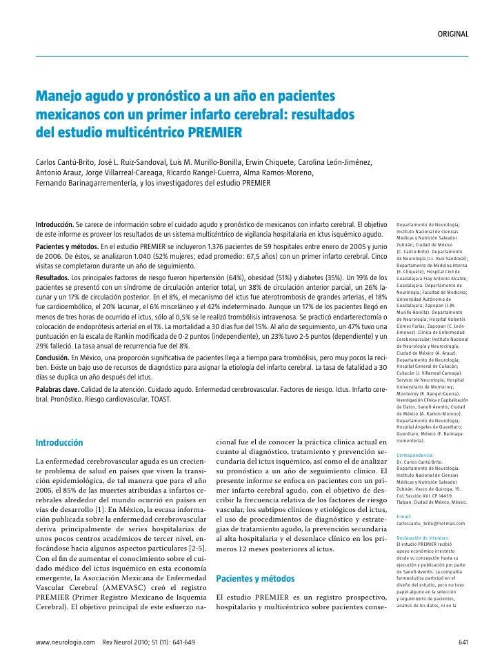 ORIGINAL     Manejo agudo y pronóstico a un año en pacientes mexicanos con un primer infarto cerebral: resultados del estu...